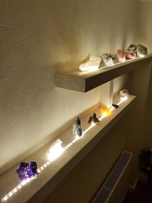 Image 11 - Here are some crystals lit from a warm white LED strip that i rebated into the shelves that i made for a client, this was all installed to a finished wall, then papered and painted, with no wiring shownig
