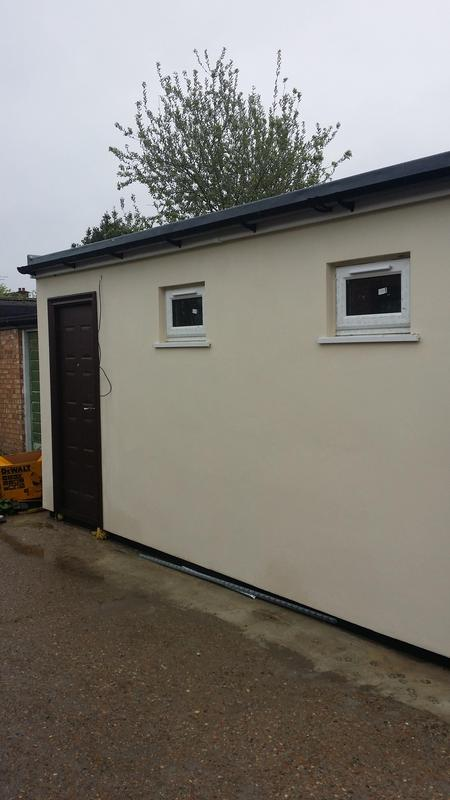 Image 43 - New Garage built with GRP roof and thermal rendering externally