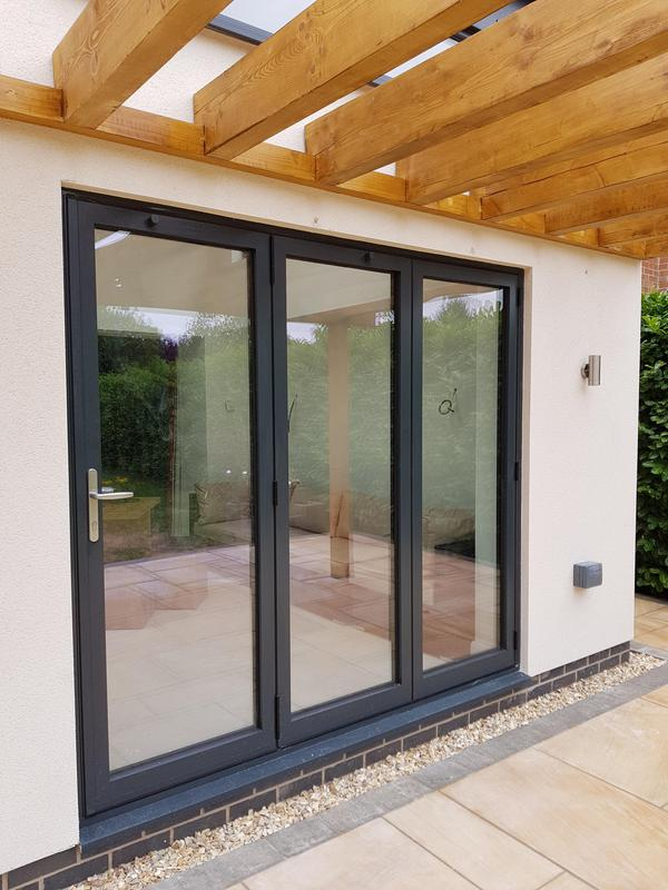 Image 2 - 3 leaf Aluminium Bi- Fold, Anthracite Grey 7016 installed in Newark on Trent