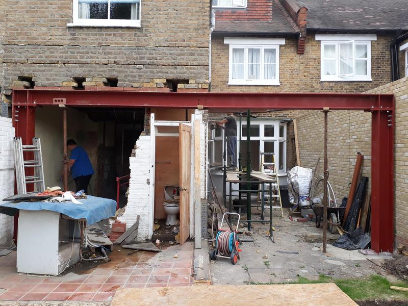 Image 22 - View of steelwork installed to support remaining section of property.