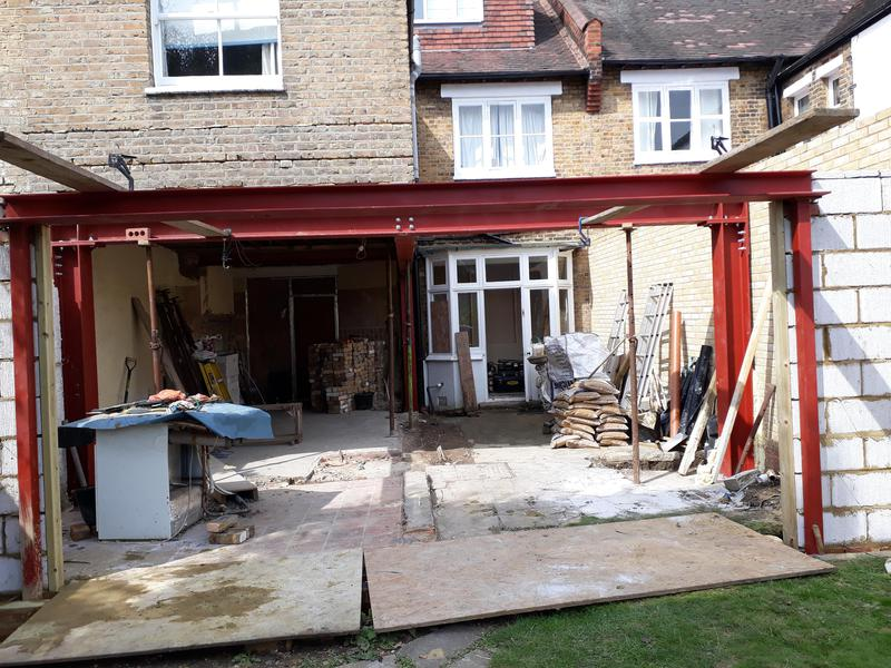 Image 24 - View of steelwork installed to support new roof structure and new rear wall.