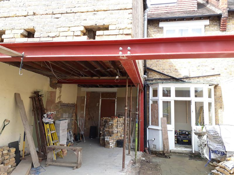 Image 25 - View of steelwork installed to support remaining section of property.