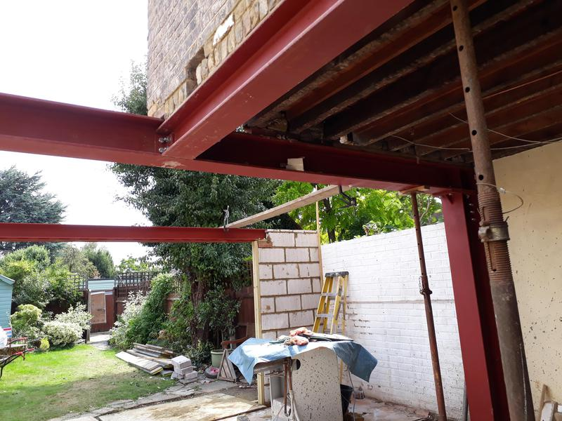 Image 26 - View of steelwork installed to support remaining section of property, and showing steel work to support new rear wall.
