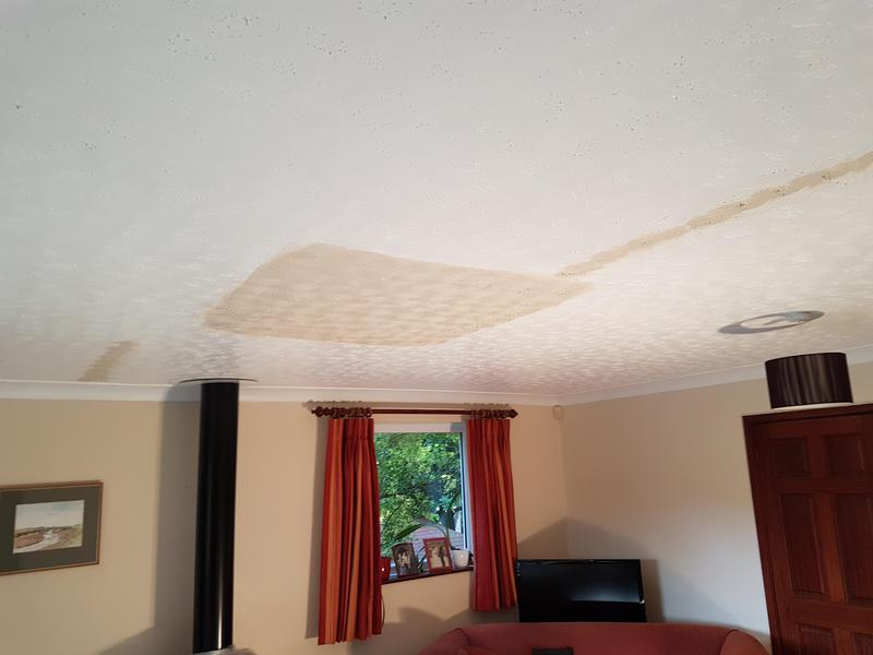 Image 2 - Burst pipe after plumber fixed leek ,i came in fixed ceiling and matched artex to the home owners satisfaction