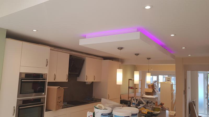 Image 34 - Fitted LED colour changing strip into the bespoke ceiling recess