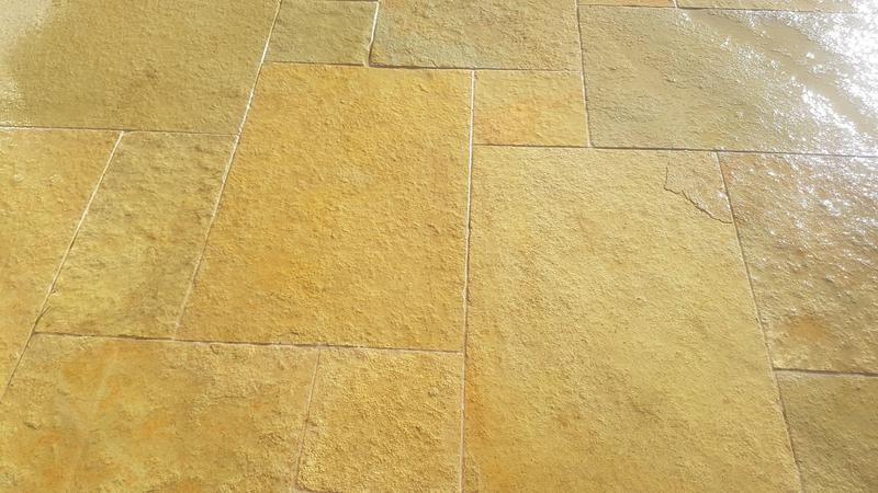 Image 22 - Randomly laid Yellow Limestone, with 5mm joints, pointed in a Lime mix