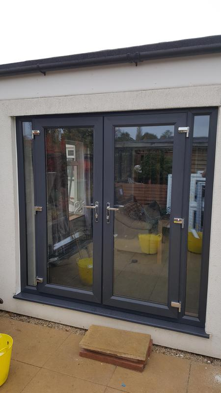 Image 3 - French doors with side screens in Anthracite grey.