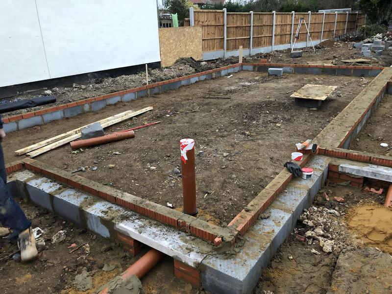 Image 2 - Drainage and up stand ready at Woodlands road Job
