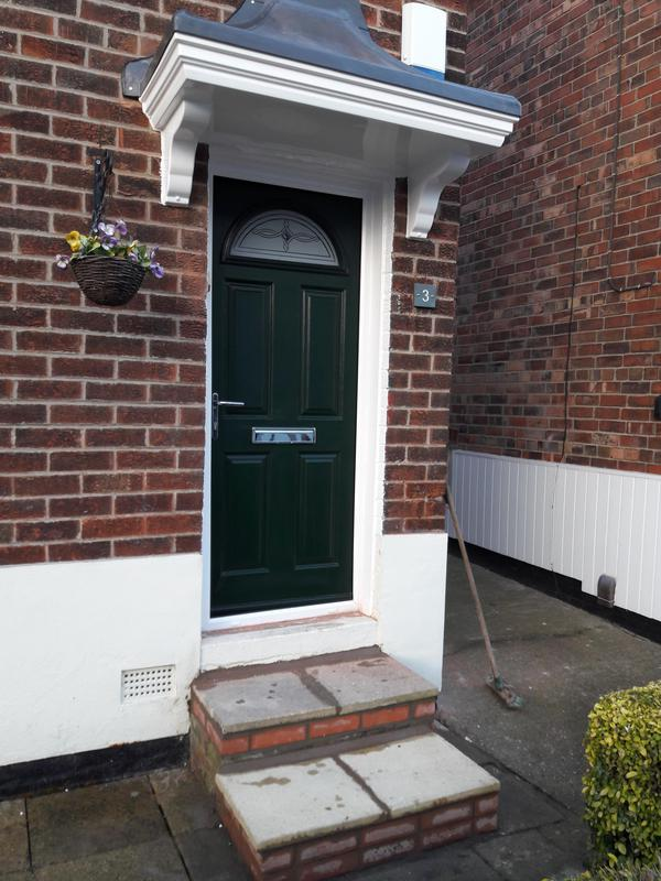 Image 7 - The finishing result on a full face lift to the front doorway of a property new UPVC composite door and new UPVC bell canopy and step built