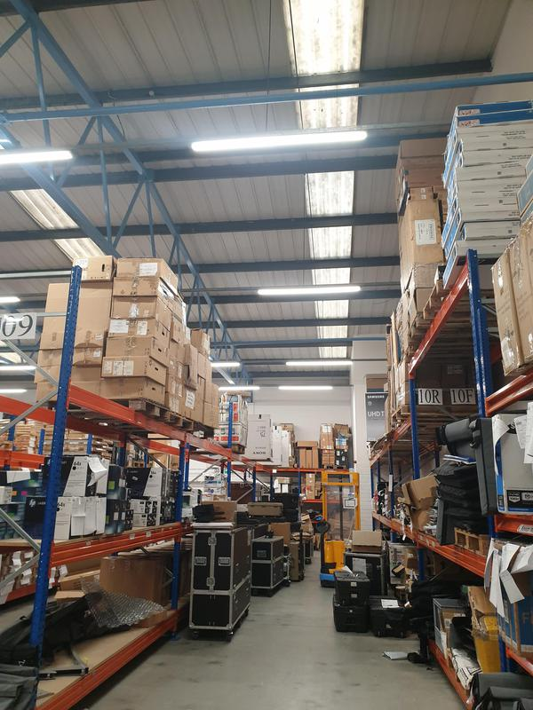 Image 6 - Warehouse lights changed to leds using a scissor lift