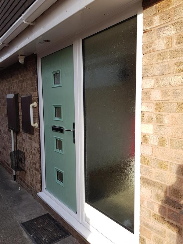 Image 6 - Chartwell green composite door installed with side panel in Aston on Trent