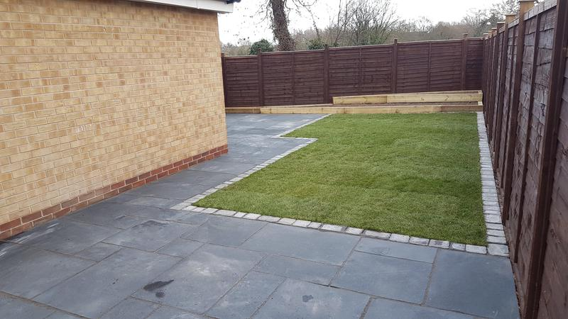 Image 7 - Rugeley after, with black limestone paving, carbon tumble edge and arena turf