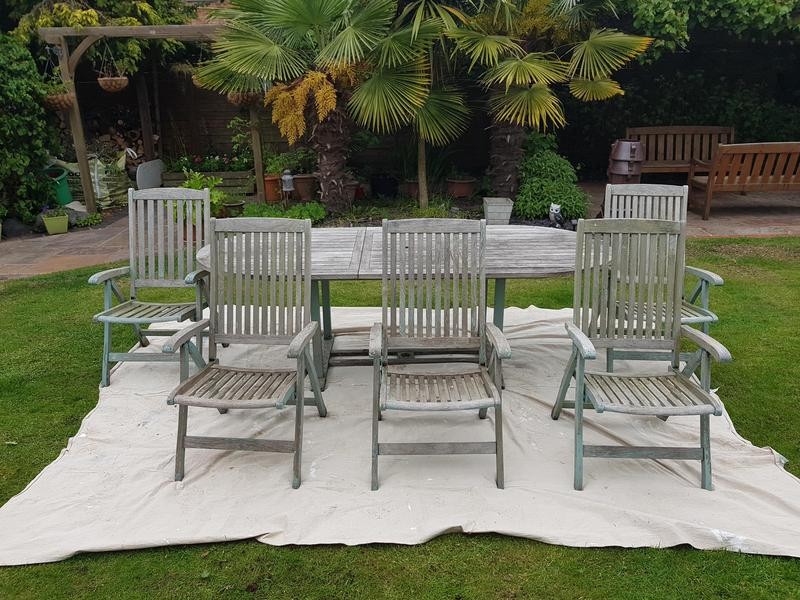 Image 11 - Garden furniture all rubbed down for a spray job.