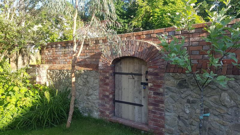 Image 20 - Brick & Ragstone wall with arch as and Gate made in reclaimed Oak