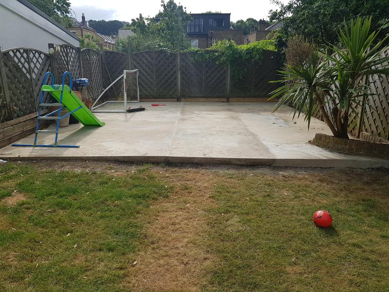 Image 24 - Concrete area installed over a run down part of the garden. The customer later install the summerhouse over this area.