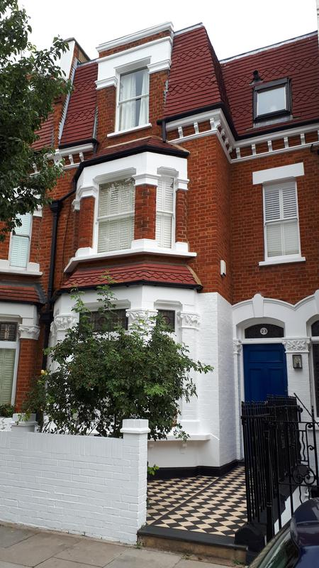 Image 48 - Full front exterior decoration of house in Chelsea. All masonry, windows, railings and front door was painted. Client was very happy with the finish and has had us back to do more work for her.