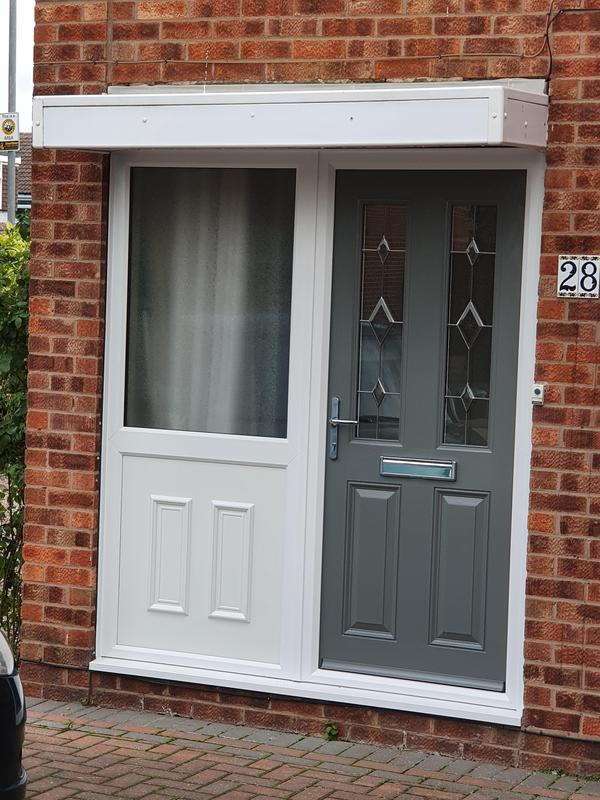 Image 31 - Mouse Grey composite door and side panel installed in Cropwell bishop.
