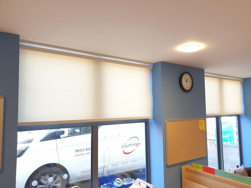Image 7 - CropDeleteNursery fitted with dim-out roller blinds. All our blinds adhere to strict Child-Safety regulations and we always have up to date DBS for that extra piece of mind.