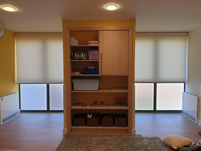 Image 8 - CropDeleteNursery fitted with dim-out roller blinds. All our blinds adhere to strict Child-Safety regulations and we always have up to date DBS for that extra piece of mind.