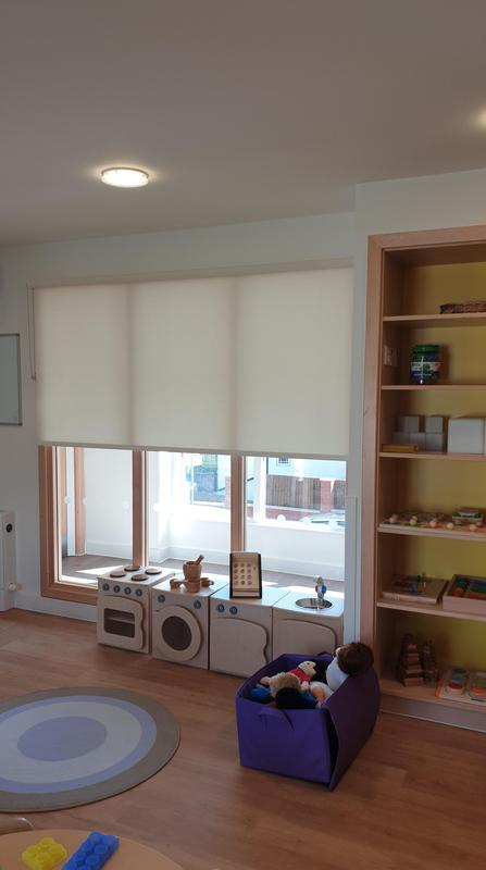 Image 11 - CropDeleteNursery fitted with dim-out roller blinds. All our blinds adhere to strict Child-Safety regulations and we always have up to date DBS for that extra piece of mind.