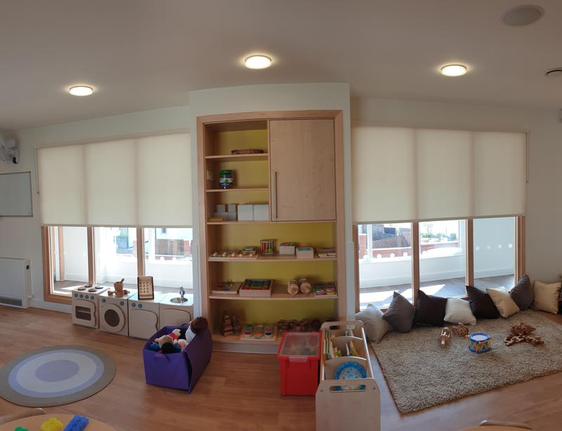 Image 12 - CropDeleteNursery fitted with dim-out roller blinds. All our blinds adhere to strict Child-Safety regulations and we always have up to date DBS for that extra piece of mind.