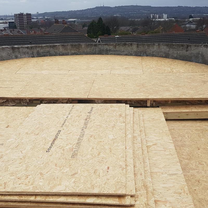 Image 43 - Osb boards fitted, double skin, with insulation ready for EPDM.
