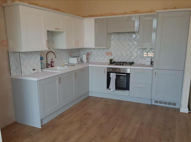 Image 22 - Full kitchen refurbishment. Including herringbone style tiling. The manufacturer did send the correct colour doors later as they sent the incorrect ones by mistake.