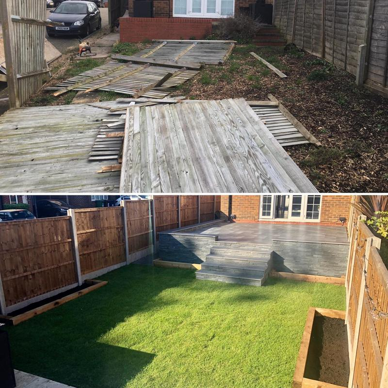 Image 17 - Before and After - Using Marshalls Arrento and Drystack Wall Veneers, new turf and sleeper beds, close board fencing