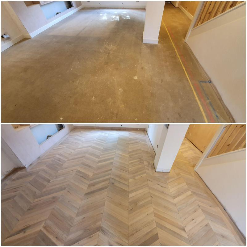 Image 35 - Before and after.. Chevron engineered flooring with double border