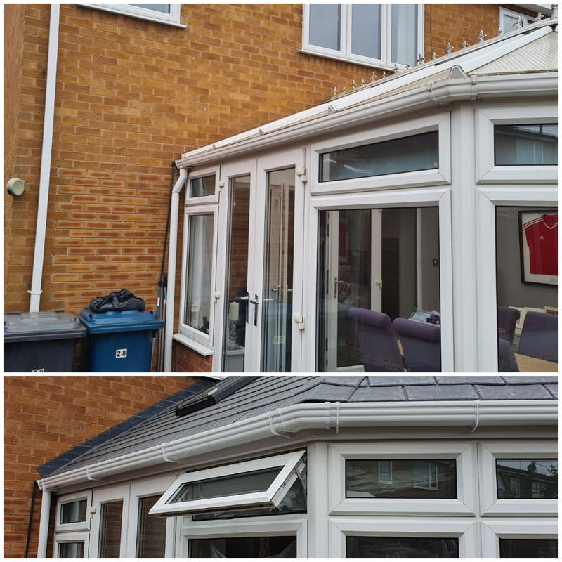 Image 26 - Before and after view of the replaced conservatory roof in Cotgrave.
