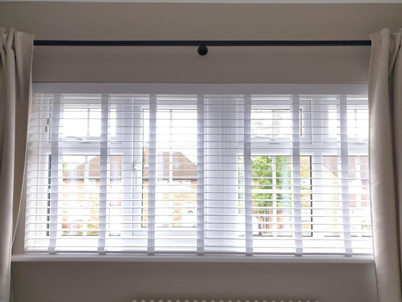 Image 25 - Faux wood white venetians with matching tapes fitted for a customer in Orpington.