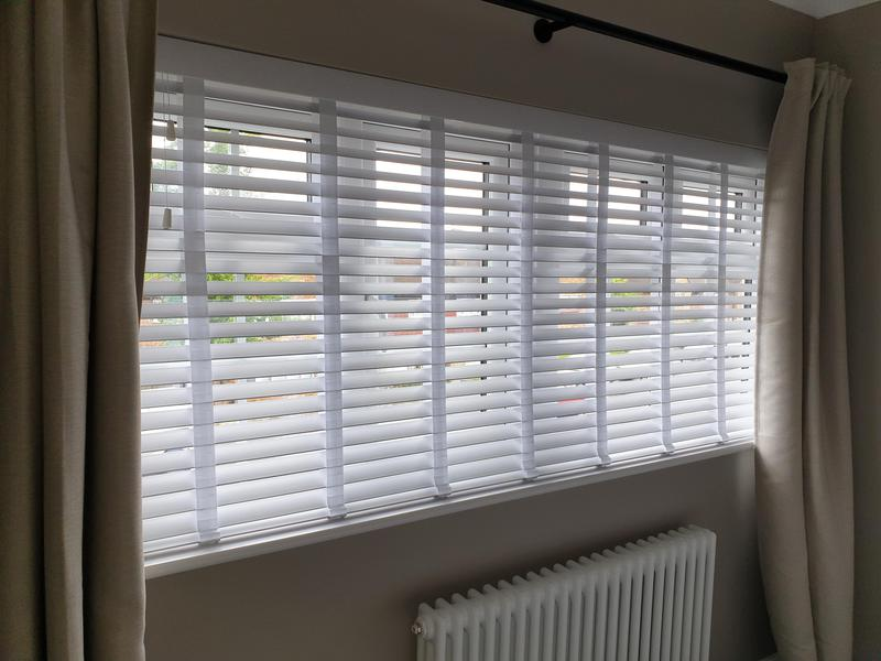Image 26 - Faux wood white venetians with matching tapes fitted for a customer in Orpington.