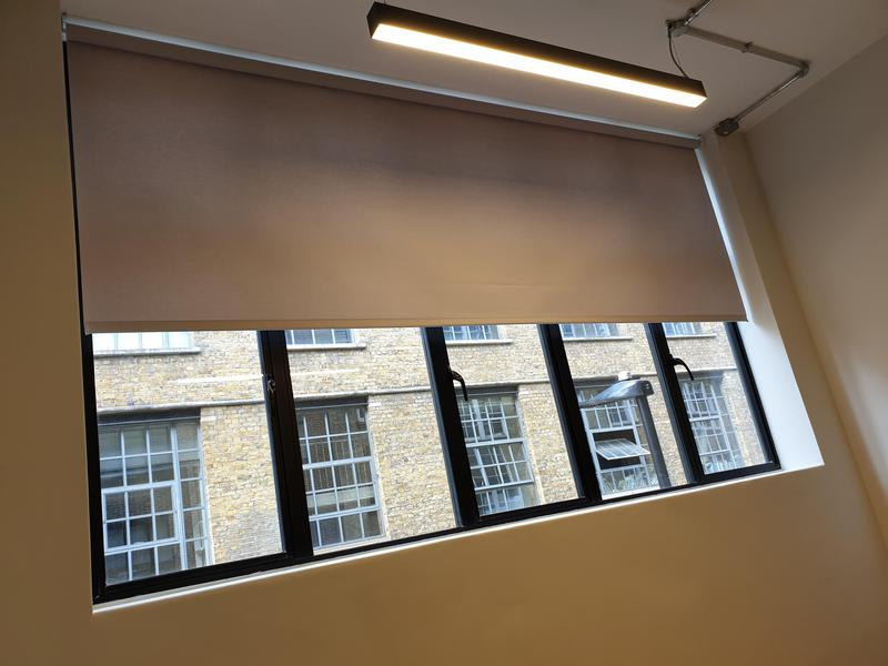 Image 30 - Large Scale Installation of Electric Roller Blinds over 3 floors and 34 high end media suites. We manufacture, fit and maintain motorised Roller Blinds throughout the South East and London.