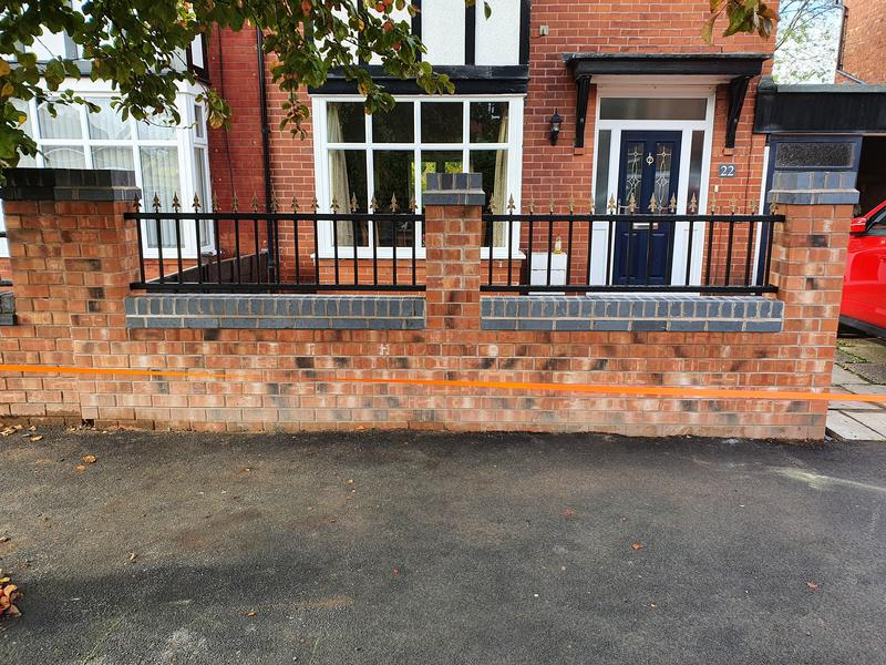 Image 22 - 5m wall with pillars and galvanised iron railings fitted.