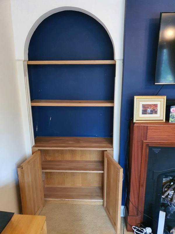 Image 3 - Matching pair of solid oak cupboards and shelves