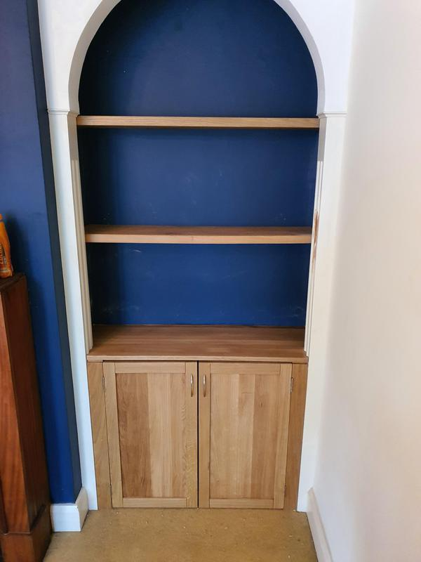 Image 4 - matching pair of solid oak cupboards and shelves