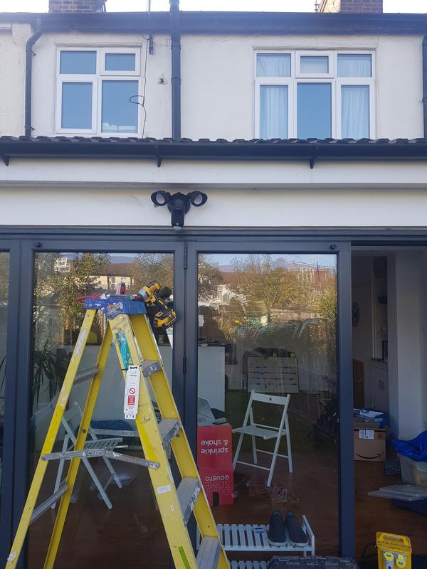 Image 11 - Wimbledon - Ring camera/motion detector floodlights installation - Rear of house.