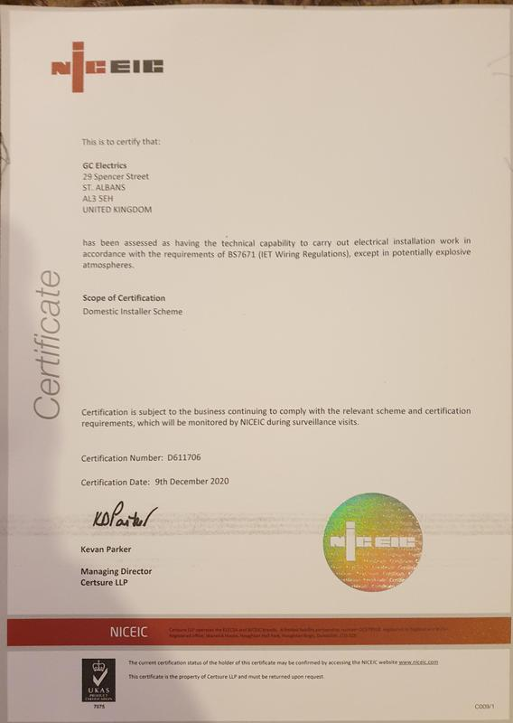 Image 37 - NICEIC registration certificate