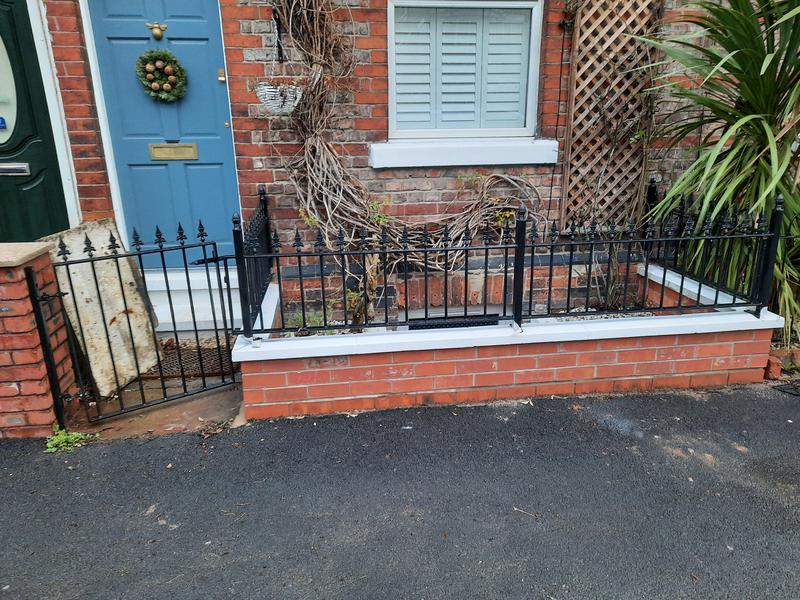 Image 18 - We built a dwarf wall and for this property. Being wary that we didn't want to go too high so we didn't block any light to the newly converted cellar. Bespoke, galvanised steel railings and gate we then fitted to the copings and house wall offering a decorative, secure solution that finished the front of this property off nicely.