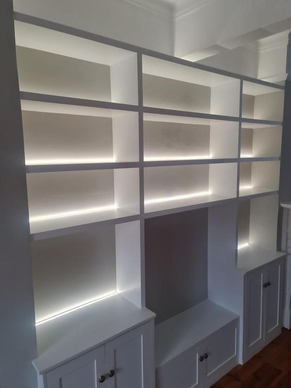 Image 32 - Bespoke alcove units with LED strips, Epping