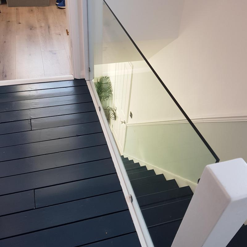 Image 23 - These are the before and after pictures of a staircase and landing that needed new floorboards,and handrail replaced with glass panel.