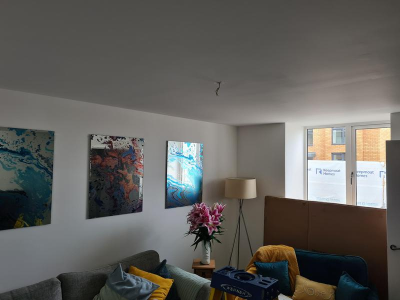 Image 1 - Customer moved into new home and wanted to add some style with a new Chandalier. Removed plain white pendant.