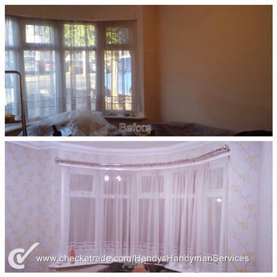 Image 120 - Pattern repeating wallpaper hung.