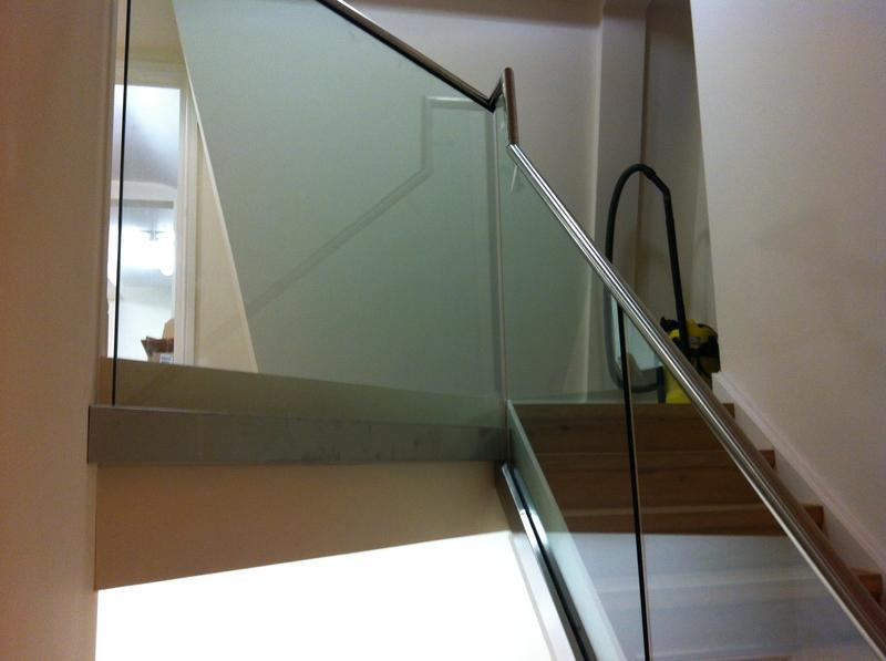 Image 7 - 10mm side clamped balustrade with stainless steel hand rail