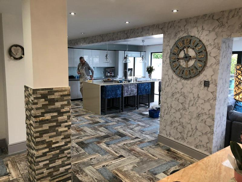 Image 33 - Kitchen redecorated. With feature marble wallpaper on columns and beams another happy customer