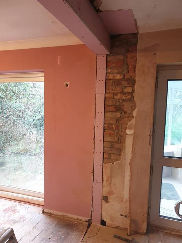 Image 165 - Steel fitted and plaster board over.
