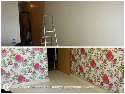 Image 122 - Pattern repeating wallpaper hung and new laminate flooring.