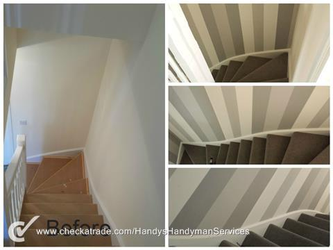 Image 117 - Striped wallpaper installed on a hall stairs and landing.