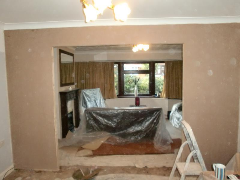 Image 33 - Stud wall now plastered.