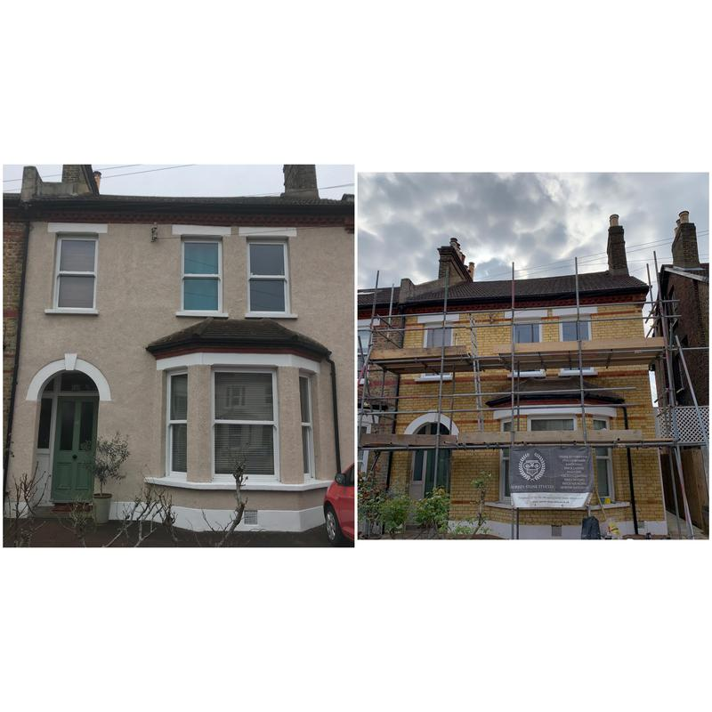 Image 6 - Pebbledash removal and full brick restoration. Full repointing in NHL3.5 lime. Penge